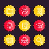 Education, learning linear icons, vector badges Stock Photography