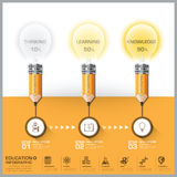 Education And Learning Pencil With Light Bulb Step Diagram Infog. Raphic Vector Design Template royalty free illustration