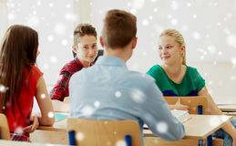 Group of students at school lesson or break Royalty Free Stock Image