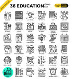 Education & Learning pixel perfect outline icons Royalty Free Stock Photo