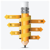 Education And Learning With Spiral Arrow Pencil Step Infographic Stock Photography