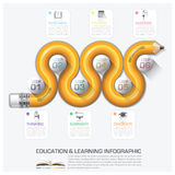 Education And Learning Step Infographic With Curve Pencil Diagra Royalty Free Stock Images