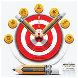 Education And Learning Step Infographic With Pencil Dartboard Su. Bject Diagram Vector Design Template Stock Photos