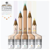 Education And Learning Step Infographic With Pencil Diagram. Vector Design Template Stock Photo