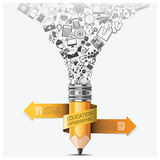 Education And Learning Step Infographic With Spiral Arrow Pencil Royalty Free Stock Image
