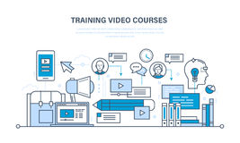 Education, learning technologies, remote online video courses, communications, training programs. Stock Photo