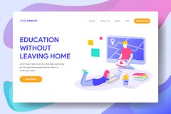 EDUCATION WITHOUT LEAVING HOME vector illustration