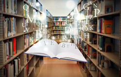 Education Library Book Floating with Letters stock photo