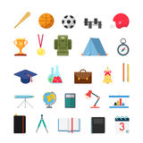 Education lifestyle sports camp infographic icons. Flat creative style modern school college sports education infographic icon set. Bat ball cup trophy medal vector illustration