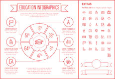 Education Line Design Infographic Template Royalty Free Stock Photography