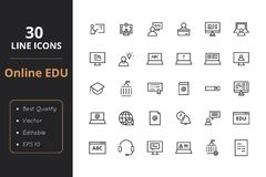 30 education line icon. Online education line icon. Icon for online school, university and other Stock Photos
