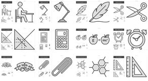 Education line icon set. Education vector line icon set isolated on white background. Education line icon set for infographic, website or app. Scalable icon Stock Photography