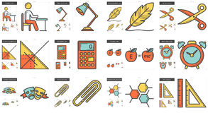 Education line icon set. Education vector line icon set isolated on white background. Education line icon set for infographic, website or app. Scalable icon Stock Photo