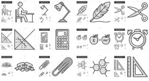 Education line icon set. Education vector line icon set isolated on white background. Education line icon set for infographic, website or app. Scalable icon Stock Photos