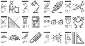 Education line icon set. Stock Photos