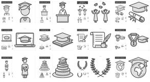 Education line icon set. Education vector line icon set isolated on white background. Education line icon set for infographic, website or app. Scalable icon vector illustration