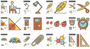 Education line icon set. Education vector line icon set isolated on white background. Education line icon set for infographic, website or app. Scalable icon Royalty Free Stock Photo