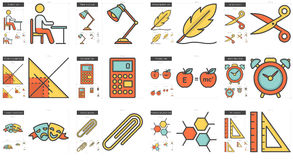 Education line icon set. Education vector line icon set  on white background. Education line icon set for infographic, website or app. Scalable icon designed on Stock Image