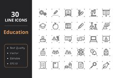 30 Education Line Icons. High quality education line icons. Icons for user interfaces and web Royalty Free Stock Photo