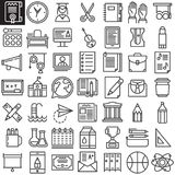 Education line icons set. Outline vector symbol collection, linear style pictogram pack. Signs, logo illustration. Set includes icons as Scissors ,ball Stock Photos