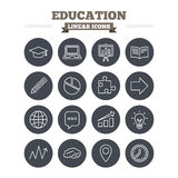 Education linear icons set. Thin outline signs Stock Photos