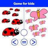 Education logic game for preschool kids. Choose the correct answer. More, less or equal Vector illustration. Animal pictures for k. Ids Royalty Free Stock Photography