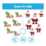 Education logic game for preschool kids. Choose the correct answer. More, less or equal Vector illustration. Christmas Xmas and Ne Royalty Free Stock Photos