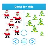 Education logic game for preschool kids. Choose the correct answer. More, less or equal Vector illustration. Christmas Xmas and Ne Royalty Free Stock Photo