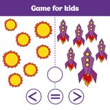 Education logic game for preschool kids. Choose the correct answer. More, less or equal Vector illustration. Cosmos design Royalty Free Stock Photography
