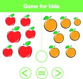Education logic game for preschool kids. Choose the correct answer. More, less or equal Vector illustration. Fruits vegetables, pi Royalty Free Stock Photos