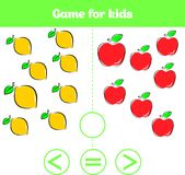 Education logic game for preschool kids. Choose the correct answer. More, less or equal Vector illustration. Fruits vegetables, pi Royalty Free Stock Images
