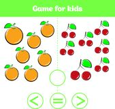 Education logic game for preschool kids. Choose the correct answer. More, less or equal Vector illustration. Fruits vegetables ,pi Stock Photography