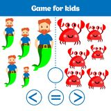 Education logic game for preschool kids. Choose the correct answer. More, less or equal Vector illustration. Theme mermaid sea, oc Royalty Free Stock Photos