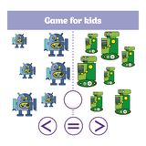 Education logic game for preschool kids. Choose the correct answer. More, less or equal Vector illustration. Theme robots Stock Photo