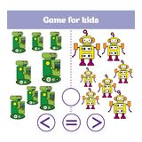 Education logic game for preschool kids. Choose the correct answer. More, less or equal Vector illustration. Theme robots Stock Photography