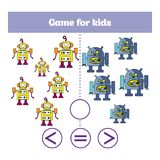 Education logic game for preschool kids. Choose the correct answer. More, less or equal Vector illustration. Theme robots Royalty Free Stock Images