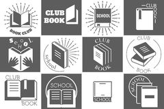 Education logo with books or reading emblems Royalty Free Stock Images