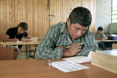Education for mature Indians in classroom. Guatemala, Jalapa Department, San Pedro Pinula Village: In the mountains, Indians` indigenous poverty is enormous, so Stock Photo