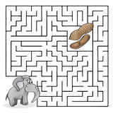 Education Maze or Labyrinth Game for Children with Cute Elephant and Peanuts Stock Photo