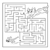 Education Maze or Labyrinth Game for Preschool Children. Puzzle. Coloring Page Outline Of cat with dragonfly Stock Photo