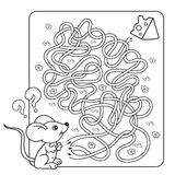 Education Maze or Labyrinth Game for Preschool Children. Puzzle. Tangled Road.  Royalty Free Stock Photography