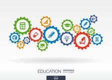 Education mechanism concept. Abstract background with connected gears and icons for elearning, knowledge concepts Royalty Free Stock Photography