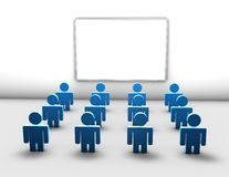 Education meeting with training group during lecture concept illustration. With people silhouettes and information board Royalty Free Stock Photos