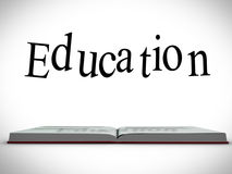 Education message above open book graphic Royalty Free Stock Photos