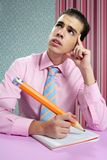 Education metaphor, student young businessman Royalty Free Stock Photo