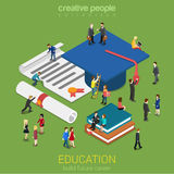 Education micro people flat 3d web isometric infographic concept. Education graduation license certificate flat 3d web isometric infographic concept vector Royalty Free Stock Photography