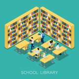 Education Middle School Library Isometric Banner Royalty Free Stock Photography