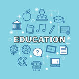 Education minimal outline icons Stock Photos