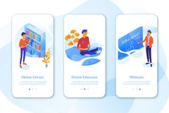 Education mobil app set with flat isometric vector illustrations