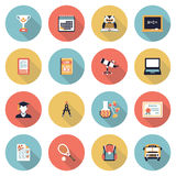 Education modern flat color icons. Stock Photos